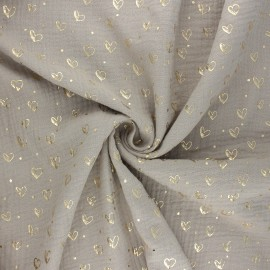 Double gauze fabric - light taupe Coeur doré x 10cm