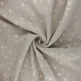 Tissu double gaze de coton Coeur doré - taupe clair x 10cm