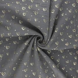 Tissu double gaze de coton Coeur doré - taupe x 10cm