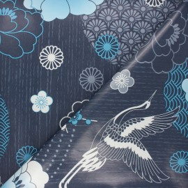 Oilcloth fabric - blue Envol x 10cm