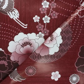Oilcloth fabric - burgundy Envol x 10cm