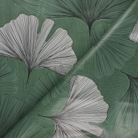 Tissu toile cirée Gingko leaf - vert x 10cm