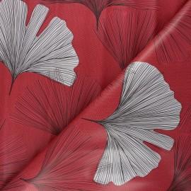 Oilcloth fabric - raspberry Gingko leaf x 10cm