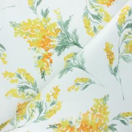 Oilcloth fabric - white Mimosa x 10cm