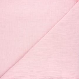 Tissu double gaze bambou uni - baby rose x 10cm