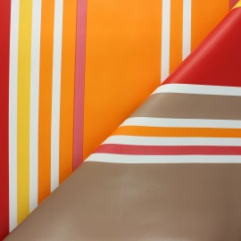 Tissu toile cirée à rayures Mimizan - orange x 10cm