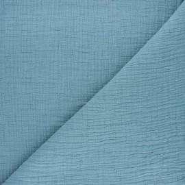 Plain bamboo double gauze fabric - sarcelle x 10cm