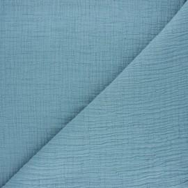 Tissu double gaze bambou uni - sarcelle x 10cm