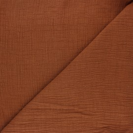 Plain bamboo double gauze fabric - camel x 10cm