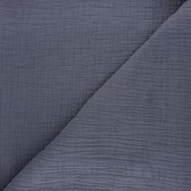 Tissu double gaze bambou uni - gris souris x 10cm