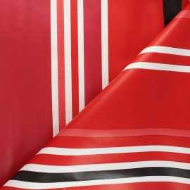 Tissu toile cirée à rayures Mimizan - rouge x 10cm