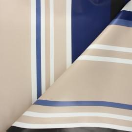 Tissu toile cirée à rayures Mimizan - bleu x 10cm