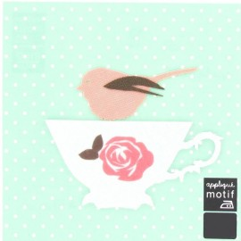 ♥ Bird and cup iron-on applique - multicolored ♥