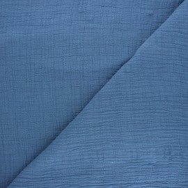 Plain bamboo double gauze fabric - swell blue x 10cm