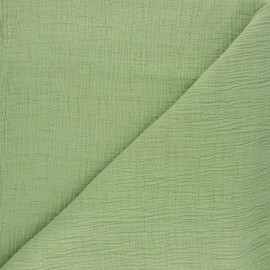Tissu double gaze bambou uni - vert clair x 10cm
