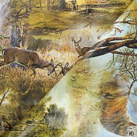 Tissu toile cirée In the woods - vert x 10cm