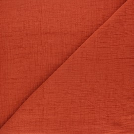 Plain bamboo double gauze fabric - rust x 10cm