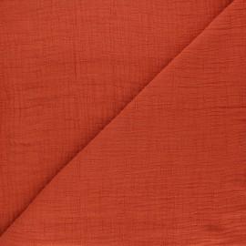 Tissu double gaze bambou uni - rouille x 10cm