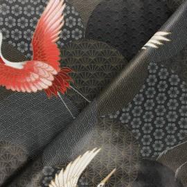 Oilcloth fabric - black Oiseau du Japon x 10cm