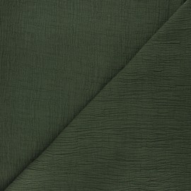 Plain bamboo double gauze fabric - dark green x 10cm