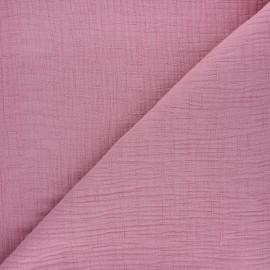 Tissu double gaze bambou uni - bois de rose x 10cm