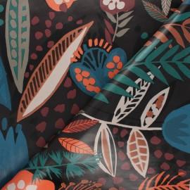 Tissu toile cirée Painted nature - noir x 10cm