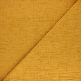 Plain bamboo double gauze fabric - mustard yellow x 10cm