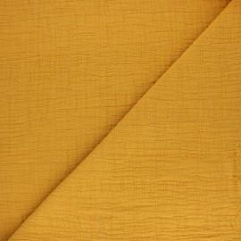 Tissu double gaze bambou uni - jaune moutarde x 10cm