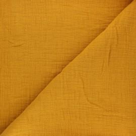 Tissu double gaze bambou uni - miel x 10cm