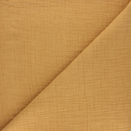 Plain bamboo double gauze fabric - ochre x 10cm