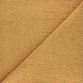Tissu double gaze bambou uni - ocre x 10cm