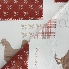 Tissu toile cirée Cocotte - rouge x 10cm
