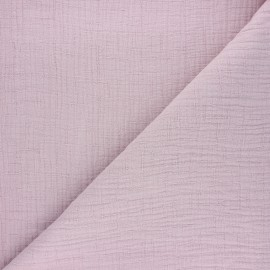 Tissu double gaze bambou uni - lilas x 10cm