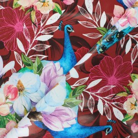 Oilcloth fabric - red Peacock x 10cm