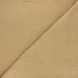 Tissu double gaze bambou uni - sable x 10cm