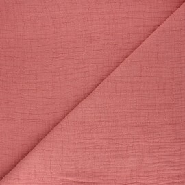 Plain bamboo double gauze fabric - tea pink x 10cm