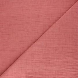 Tissu double gaze bambou uni - rose thé x 10cm