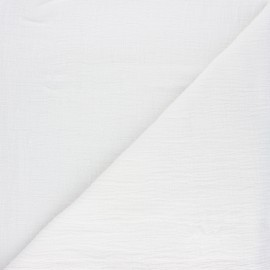 Plain bamboo double gauze fabric - white x 10cm