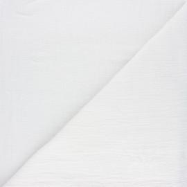 Tissu double gaze bambou uni - blanc x 10cm