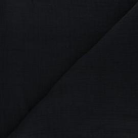 Tissu double gaze bambou uni - noir x 10cm