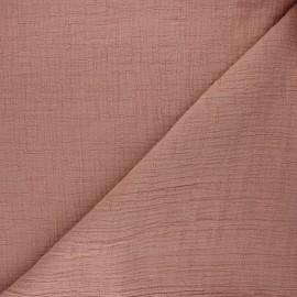 Tissu double gaze bambou uni - vieux rose x 10cm