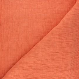 Tissu double gaze bambou uni - corail x 10cm