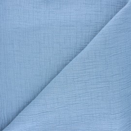 Plain bamboo double gauze fabric - light blue x 10cm