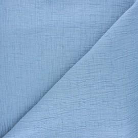 Tissu double gaze bambou uni - bleu clair x 10cm