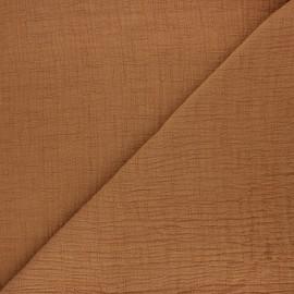 Tissu double gaze bambou uni - cannelle x 10cm