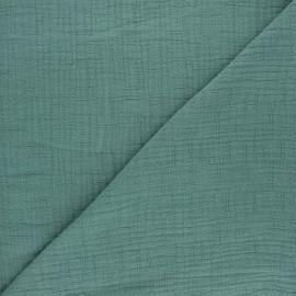 Tissu double gaze bambou uni - eucalyptus x 10cm