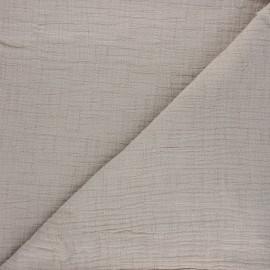 Tissu double gaze bambou uni - grège x 10cm