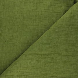 Plain bamboo double gauze fabric - moss green x 10cm