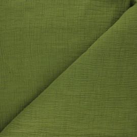 Tissu double gaze bambou uni - vert mousse x 10cm