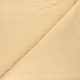 Tissu double gaze bambou uni - jaune paille x 10cm